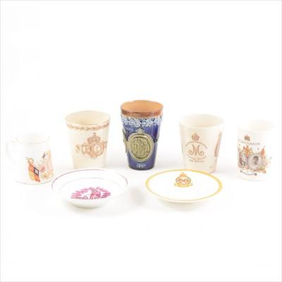Lot 41-Doulton commemorative beakers and mugs