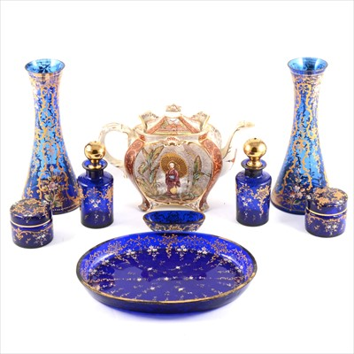 Lot 22-A blue glass and enamelled dressing table set, pair of matching vases...