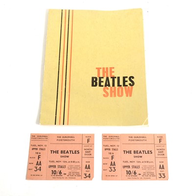 Lot 75-A pair of original concert tickets 'The Beatles Show' Tues Nov 12th 1963 at the Guildhall Portsmouth, unused.