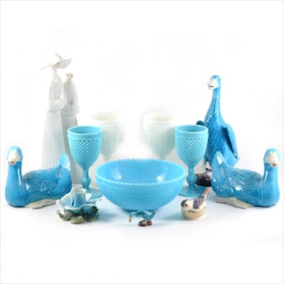 Lot 13-Two similar press moulded wine glass goblets, pair of turquoise Chinese ducks, etc