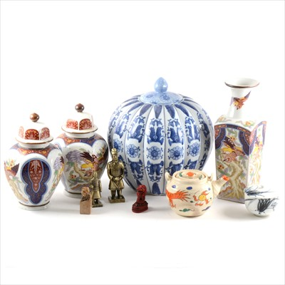 Lot 19-A modern Chinese blue and white covered jar, etc
