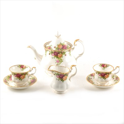 Lot 51-Royal Albert bone china tea service, Old Country Roses pattern.