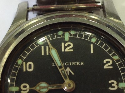 "Lot 169-A Longines Military Issue wrist watch one of ""The Dirty Dozen"""