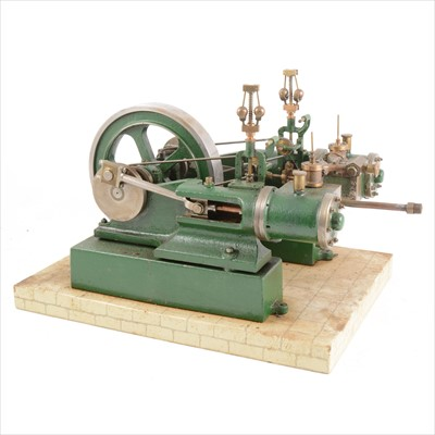 Lot 8-A well-built twin-cylinder mill engine; live steam model, 1inch scale, with 5 1/2inch flywheel