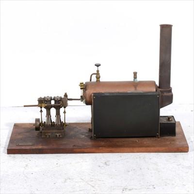 Lot 3-A Stuart Turner D10 vertical twin cylinder live steam engine, 15cm and a Suart Turner boiler 34cm