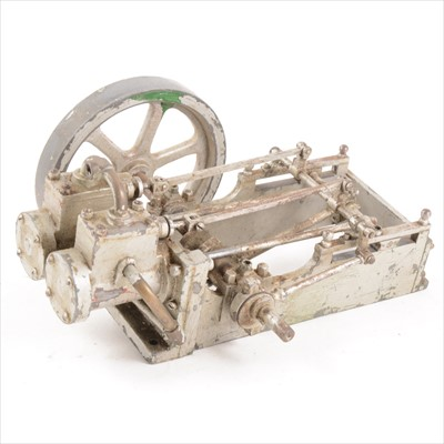 Lot 10-A twin-cylinder mill engine; live steam model, approximately 1inch scale, with 5inch flywheel, unmounted and (a/f), 25cm length.