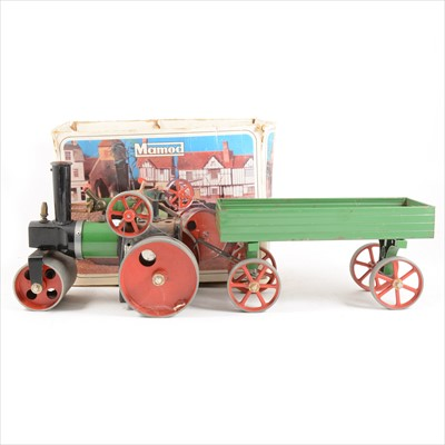 Lot 23-Mamod live steam; SR1a steam roller engine, boxed and a green trailer wagon, unboxed.