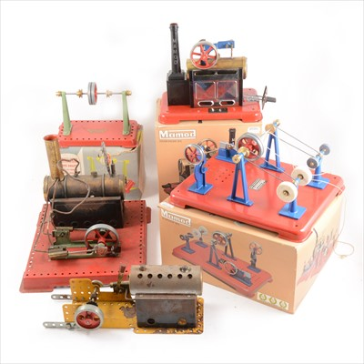 Lot 25-Mamod live steam; two stationary steam engines, SE3 twin cylinder with boiler, unboxed, SP2, boxed, etc.