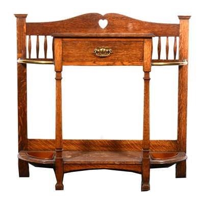 Lot 538-An Arts and Crafts oak hall stand