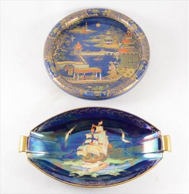 Lot 23-A Carlton ware blue chinoiserie dish and Crown Devon galleon dish.