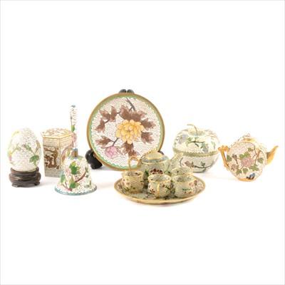 Lot 48-A collection of small cloisonné items and a miniature plique-à-jour teaset