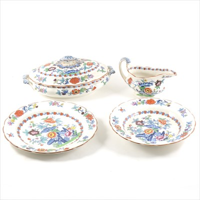 Lot 17-Booths Silicon China part dinner service in The Pomadour design, and plated flatware