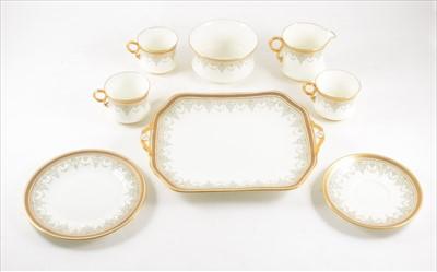 Lot 39-A Cauldon bone china teaset, Greek Key pattern borders, eight place settings.