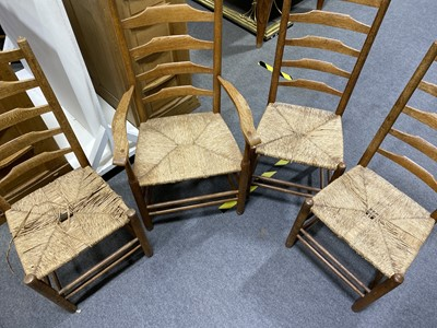 Lot 537-A set of nine Clissett dining chairs, executed by Edward Gardiner after designs by Ernest Gimson