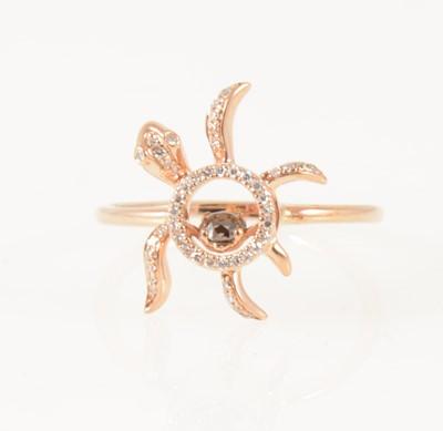 "Lot 49-A diamond set ""Floating Turtle"" ring."