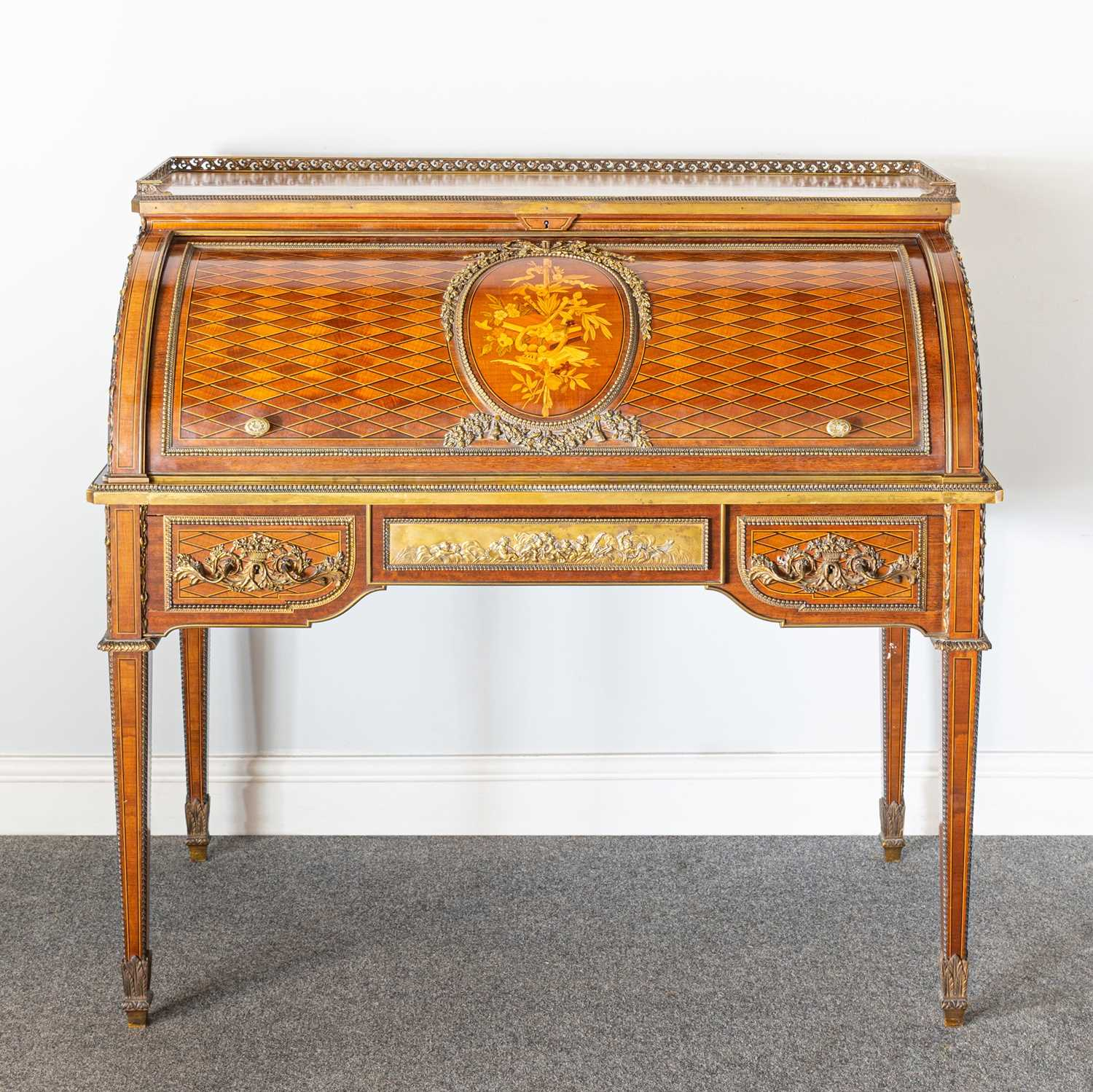 Lot 286-A Louis XVI mahogany marquetry and parquetry bureau a cylindre