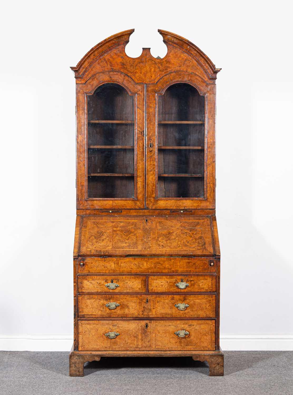 293 - A George II walnut bureau bookcase