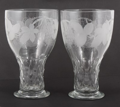 Lot 62 - A pair of oversized cut glass goblet-shaped vases, circa 1900