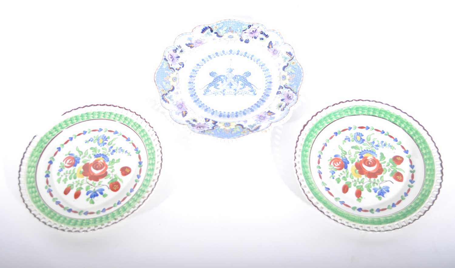 Lot 33-A pair of Swansea Dillwyn period dessert plates and a Staffordshire plate