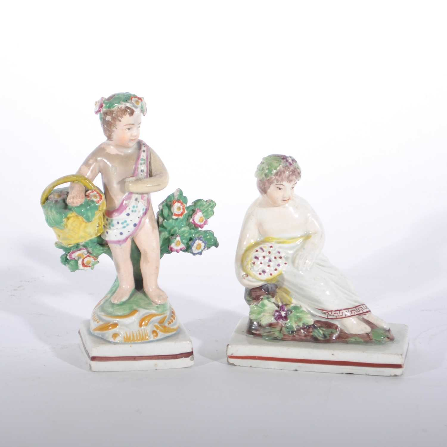 Lot 25-A Staffordshire bocage figure, and a Walton type figure