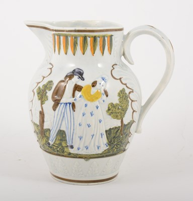 Lot 5-A Prattware jug, Sailor's Farewell, early 19th century