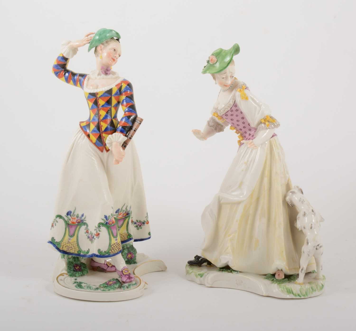 Lot 21-A Nymphenburg Commedia dell'Arte figure of Columbine, 20th century