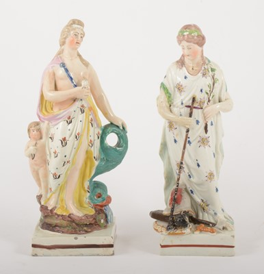 Lot 12-A Staffordshire earthenware figure of Venus with Cupid, in the manner of Enoch Wood, circa 1820