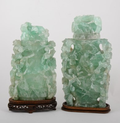 Lot 31-Two Chinese green quartz covered jars