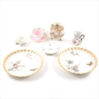 Lot 3-A Meissen cabinet cup and saucer, Shelley cup an saucer, etc