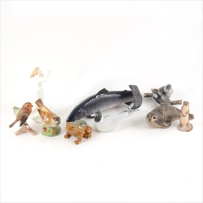 Lot 59-A collection of small animals and birds, Royal Copenhagen, Doulton, Royal Worcester etc