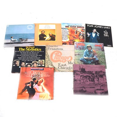 "Lot 43-Aprox sixty-nine LPs including Pink Floyd Dark Side of the Moon, and small collection of 7"" singles."