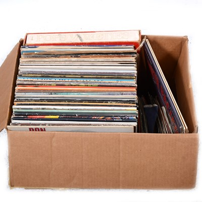 """Lot 43-Aprox sixty-nine LPs including Pink Floyd Dark Side of the Moon, and small collection of 7"""" singles."""