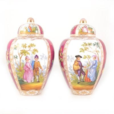 Lot 1014-Pair of Sitzendorf covered vases