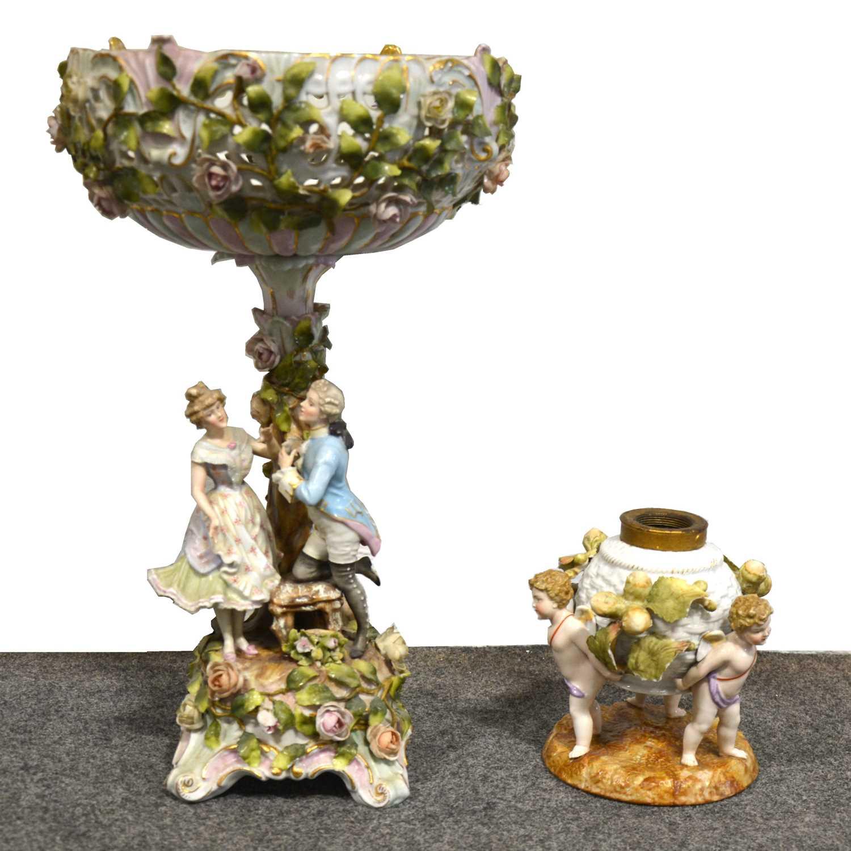 Lot 34 - Sitzendorf porcelain ornamental comport