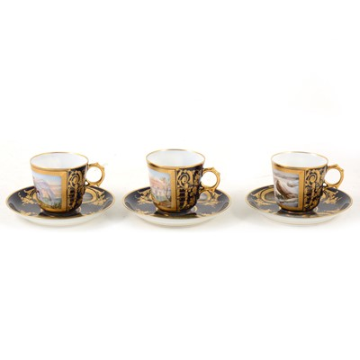 Lot 1003-Three Sevres porcelain cabinet cups and saucers