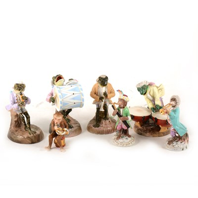 Lot 1005-Four Sitzendorf porcelain Frog musicians, two Monkey musicians, and another