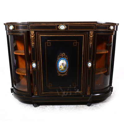 Lot 34-A Victorian ebonised and gilt metal mounted credenza