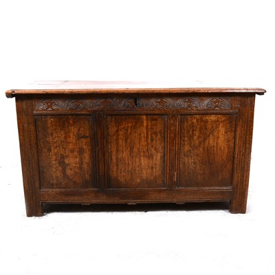 Lot 63-A joined oak coffer, basically early 18th Century