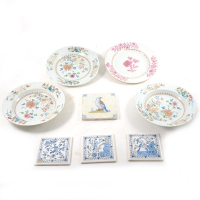Lot 5-A Chinese famille rose plate, another Chinese plate, and other tableware