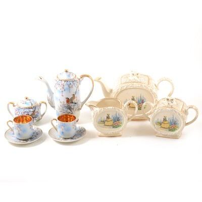 Lot 33-Japanese egg-shell porcelain coffee set, and a Sadlers part tea set