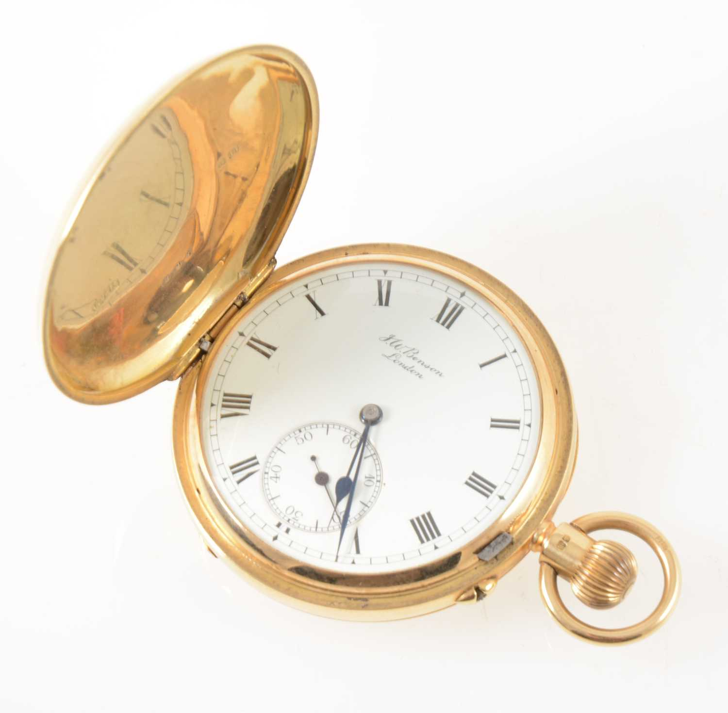 215 - J W Benson London - an 18 carat yellow gold full hunter pocket watch