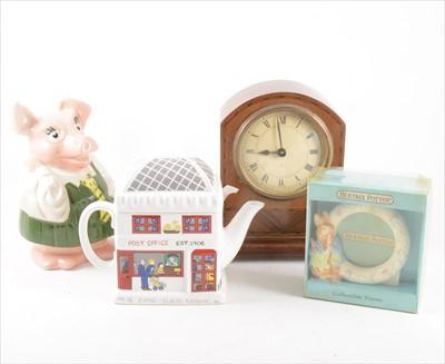 Lot 37-Wade Piggy Bank, other novelty egg cups, other ceramics, vintage picnic case, etc