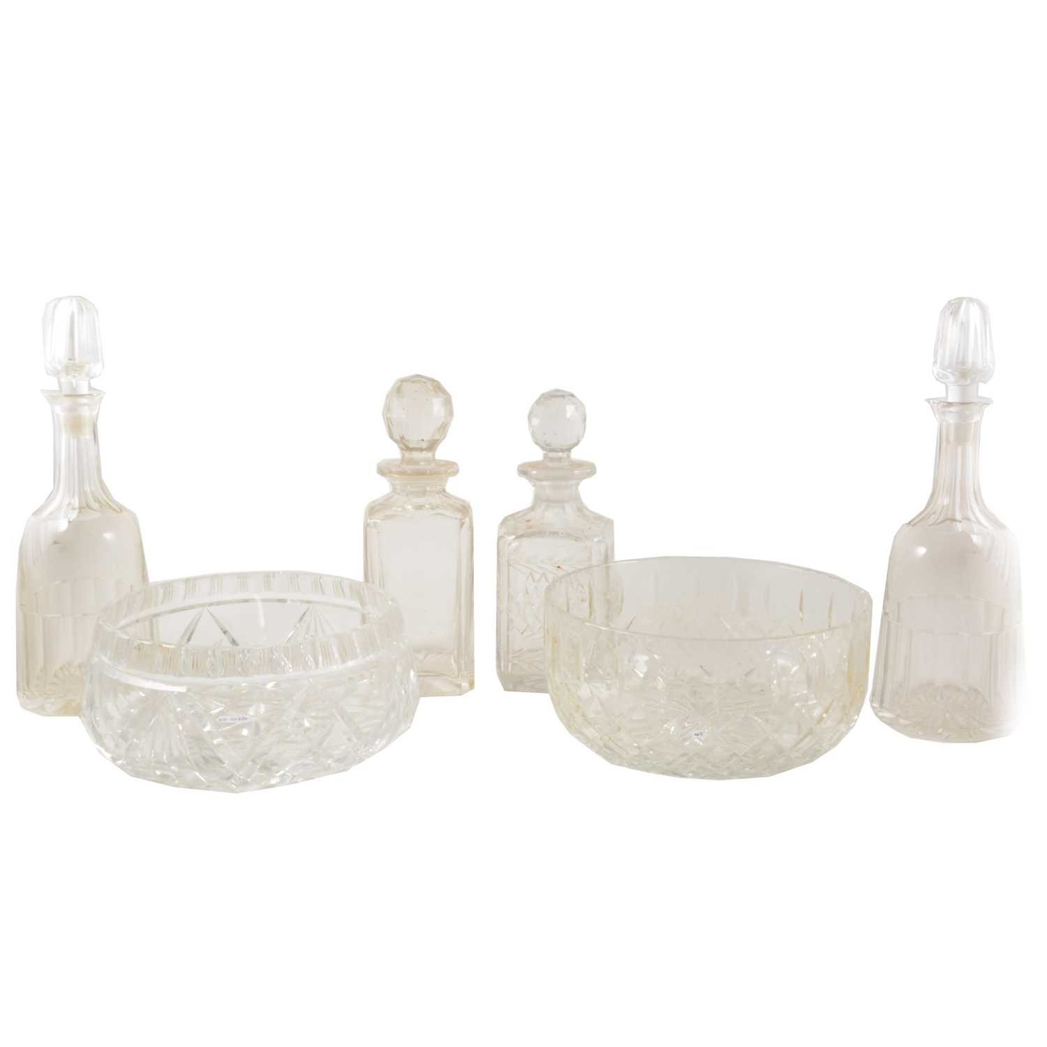 Lot 27-Pair of cut-glass mallet shaped decanters, spirit decanters, and fruit bowls