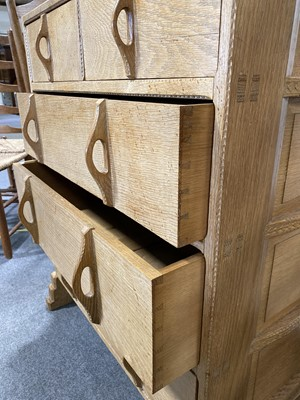 Lot 536-An Arts and Crafts oak chest of drawers, attributed to Sidney Barnsley