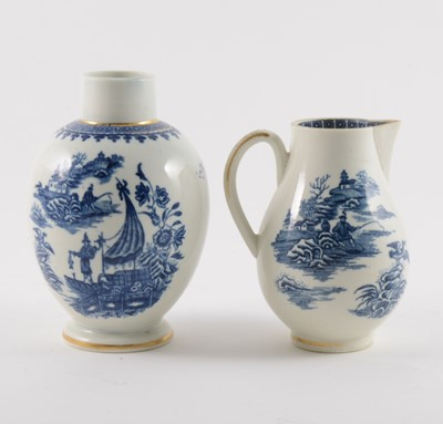 Lot 16-A Caughley blue and white sparrow beak jug and a First Period Worcester tea caddy