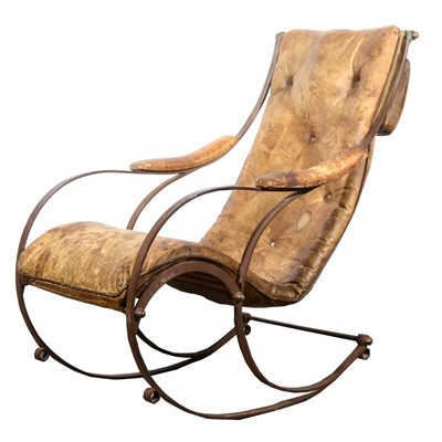 Lot 512-A Victorian wrought iron and leather rocking chair, in the manner of R W Winfield