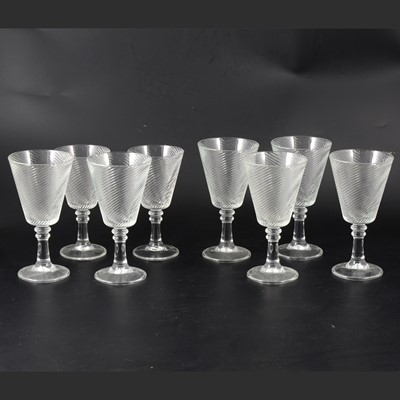 Lot 1013-Six large wine glasses with spiralled bowls, and two similar smaller glasses