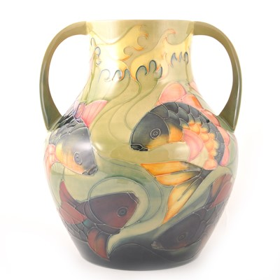 Lot 549-A large Moorcroft Pottery twin-handled vase, 'Carp' designed by Sally Tuffin