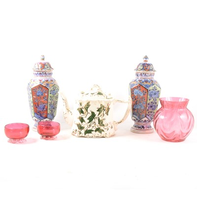 Lot 38-A collection of decorative ceramics and glassware in two boxes.