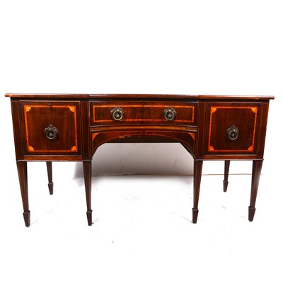 Lot 19-A George III style inlaid mahogany sideboard, 19th Century